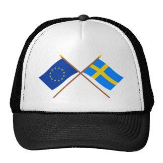 UE y banderas cruzadas Suecia Gorras De Camionero