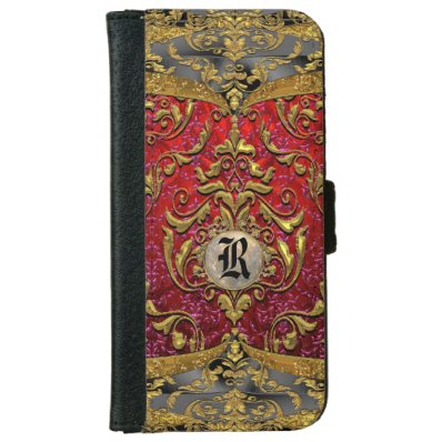 Ufaycicle Baroque 6/6s Damask Monogram Wallet Phone Case For iPhone 6/6S