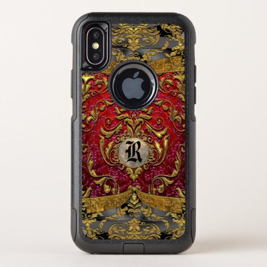 Ufaycicle Baroque  Damask Personalized Monogram OtterBox Commuter iPhone X Case