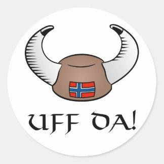 ¡Uff DA! Gorra de Viking Pegatina Redonda