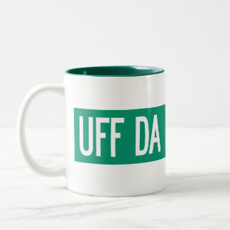 Uff Da Hill Road, Street Sign, Washington, US Two-Tone Coffee Mug