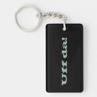 Uff da! Double-Sided rectangular acrylic keychain