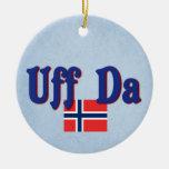 Uff Da Norway Norwegian Double-Sided Ceramic Round Christmas Ornament