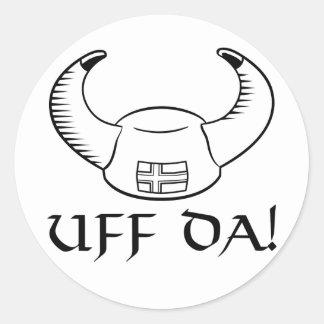 Uff Da! Viking Hat Classic Round Sticker