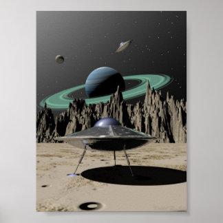 UFO - 50's SciFi Kitch (by Kristel R. Sitz) Print