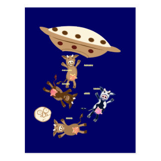 UFO abducting cows Postcard