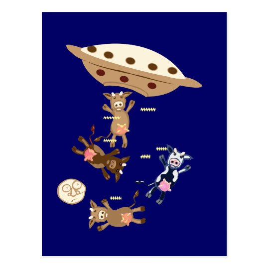 UFO abducting cows Postcard
