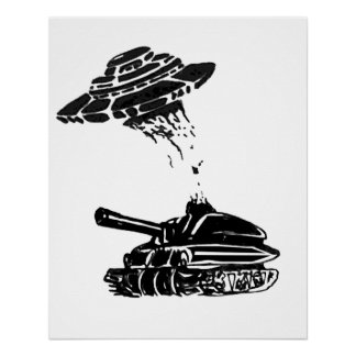 UFO Abduction of a tank Poster