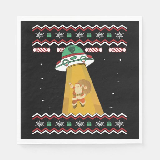 UFO Abducts Santa Claus Ugly Christmas Sweater Napkin