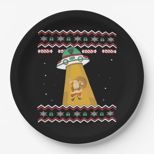 UFO Abducts Santa Claus Ugly Christmas Sweater Paper Plate