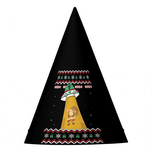 UFO Abducts Santa Claus Ugly Christmas Sweater Party Hat
