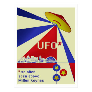 UFO above MK postcard