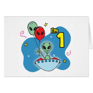 UFO Alien 1st Birthday Fill-in Card Invite