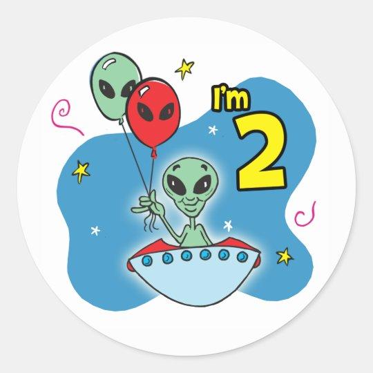 UFO Alien 2nd Birthday Classic Round Sticker
