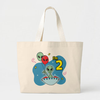 UFO Alien 2nd Birthday Large Tote Bag