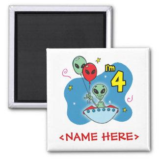 UFO Alien 4th Birthday 2 Inch Square Magnet