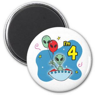 UFO Alien 4th Birthday 2 Inch Round Magnet