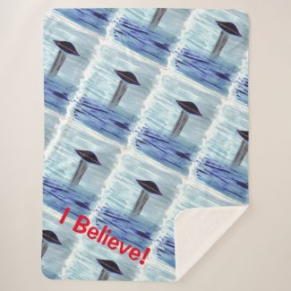 UFO Alien Abduction - Blue - Believe - Watercolour Sherpa Blanket