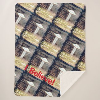 UFO Alien Abduction - Fear Believe - Watercolour Sherpa Blanket