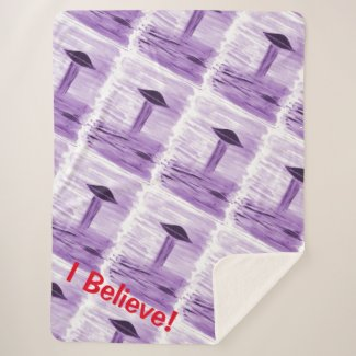 UFO Alien Abduction - Lilac Believe - Watercolour Sherpa Blanket
