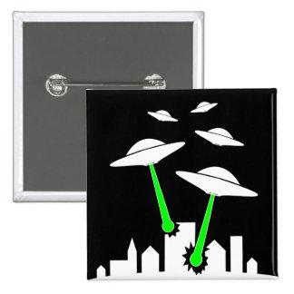 UFO Alien Attack Pinback Button