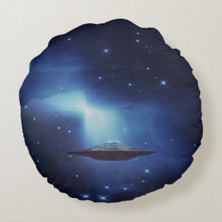 UFO alien galaxies space Round Pillow