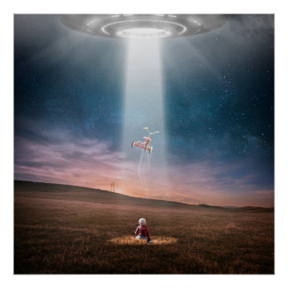 ufo alien spaceship and child encounter poster