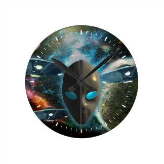 UFO And Alien Round Wallclock