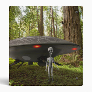 UFO and Alien in Forest Binder
