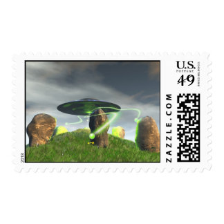 UFO and Ancient Stone Circle Postage