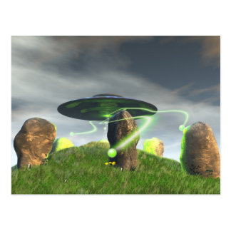 UFO and Ancient Stone Circle Postcard
