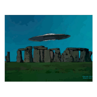 UFO At Stone Henge Postcard