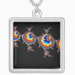 Ufo Attack - Fractal Art Silver Plated Necklace