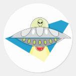 UFO Beam Up Round Sticker