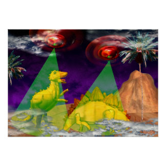 UFO beams up dinosaurs in green light Posters