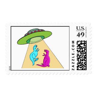UFO Beams Up Dinosaurs Postage