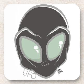 UFO Black Galactic Martian Alien Head Beverage Coaster