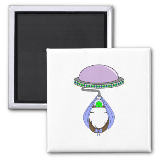 UFO Carrying Baby Blue Refrigerator Magnet