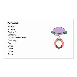 UFO Carrying Baby Pink Double-Sided Standard Business Cards (Pack Of 100)