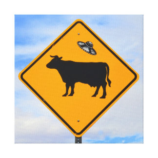 UFO Cattle Crossing Sign Canvas Print