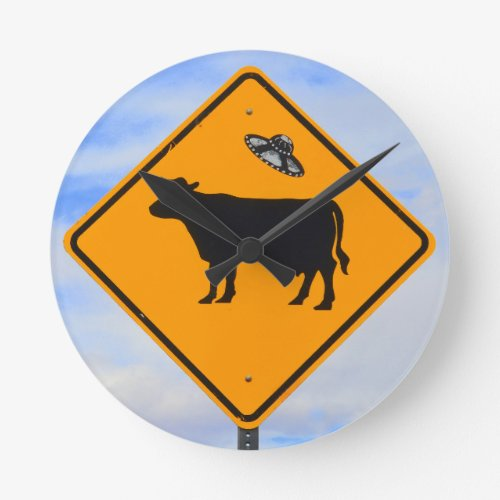 UFO Cattle Crossing Sign Round Clock