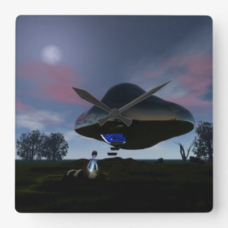 UFO Cattle Mutilation Square Wall Clock
