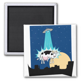 UFO Cow Abduction 2 Inch Square Magnet