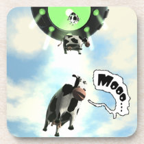 UFO Cow Abduction Beverage Coaster