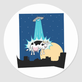 UFO Cow Abduction Classic Round Sticker