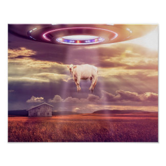 """UFO Cow """"Abduction Encounter Poster"""