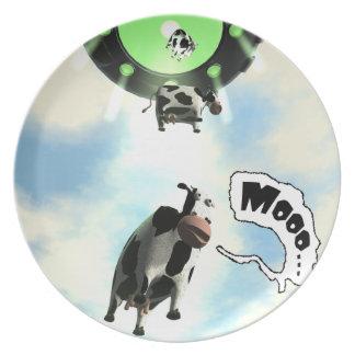 UFO Cow Abduction Melamine Plate