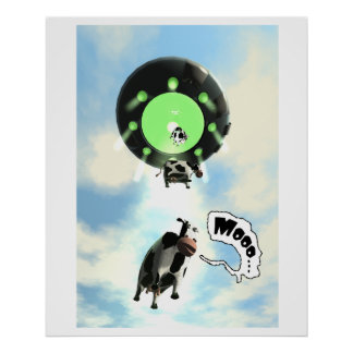 UFO Cow Abduction Poster