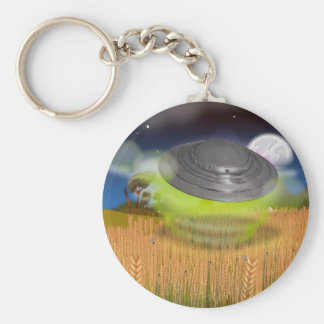 UFO Crop Circle Basic Round Button Keychain