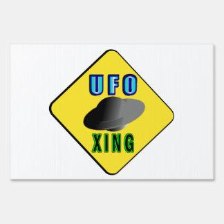 UFO Crossing Lawn Sign